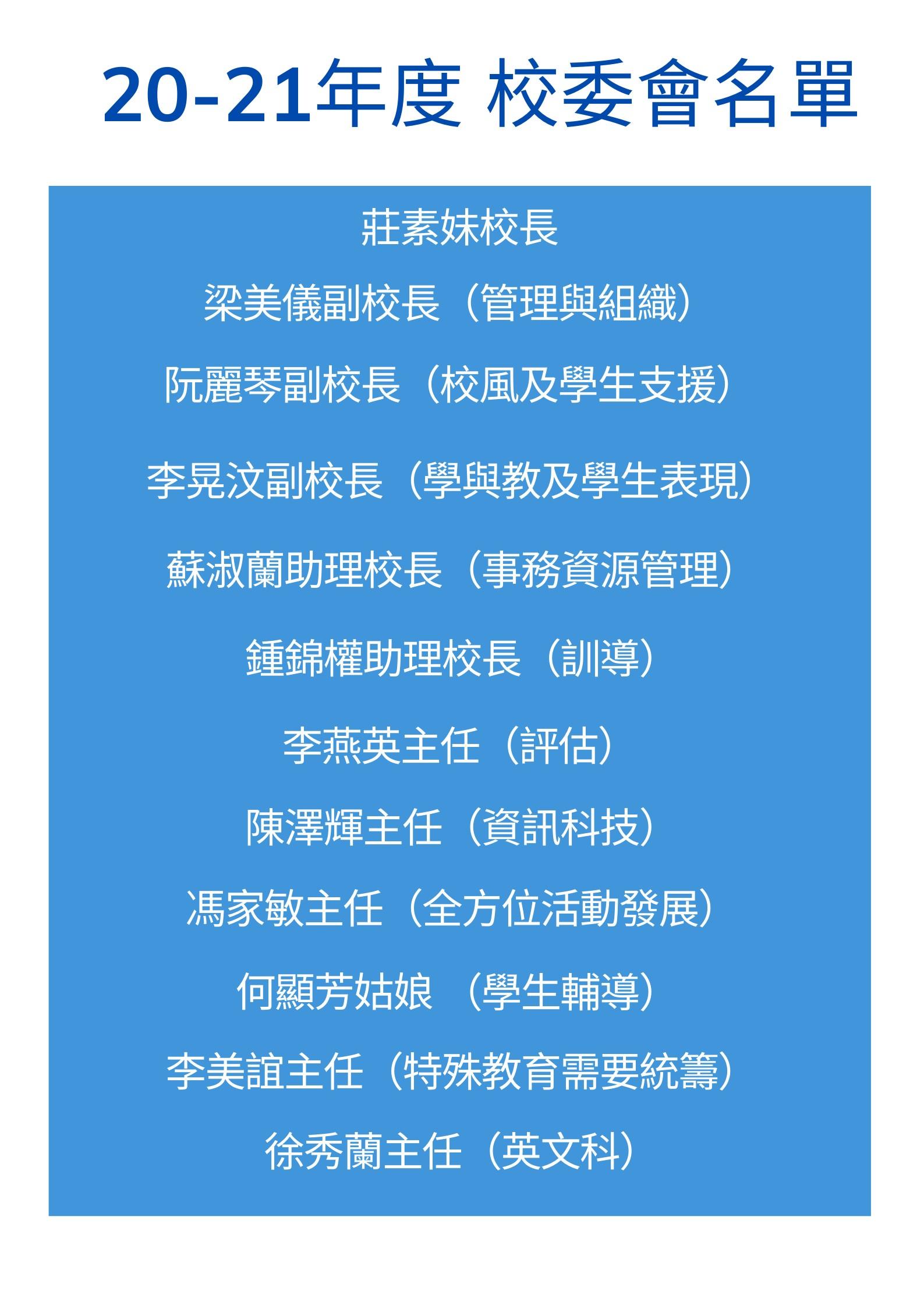 20-21年度校委會名單